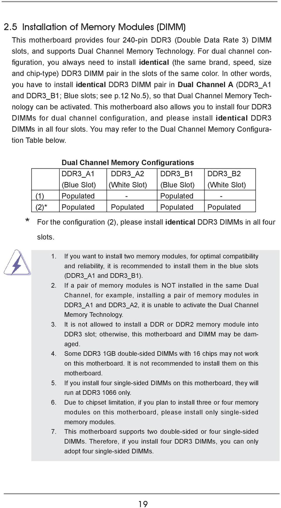 In other words, you have to install identical DDR3 DIMM pair in Dual Channel A (DDR3_A1 and DDR3_B1; Blue slots; see p.12 No.5), so that Dual Channel Memory Technology can be activated.