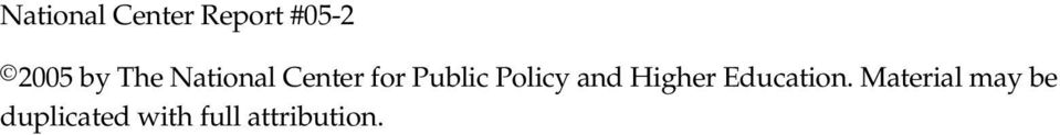 Policy and Higher Education.