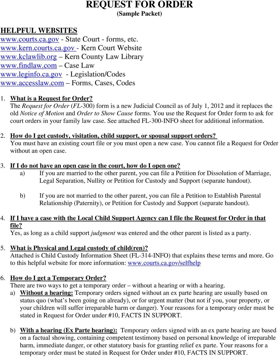 Request for order sample packet pdf the request for order fl 300 form is a new judicial council as altavistaventures Choice Image