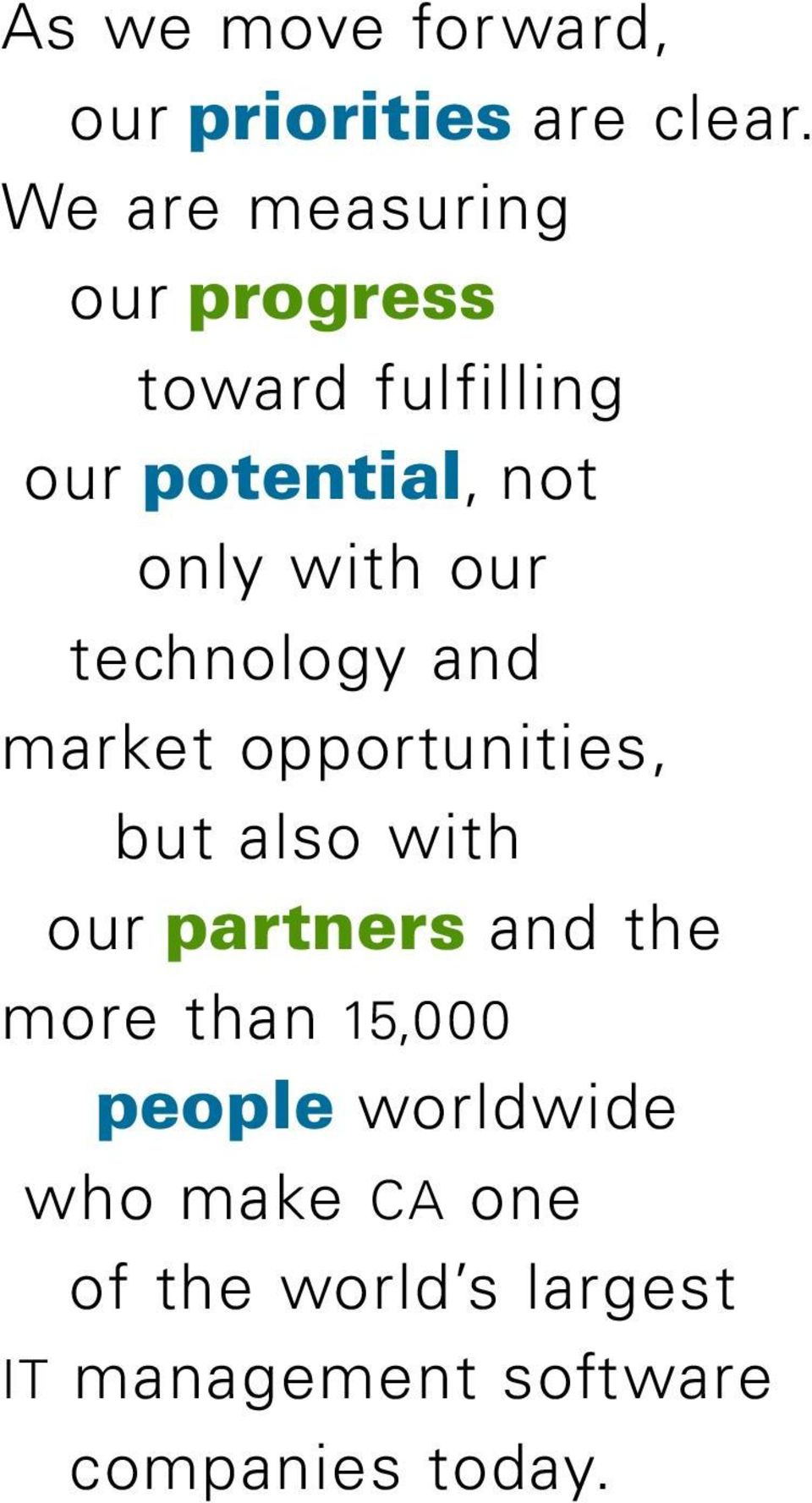 our technology and market opportunities, but also with our partners and the