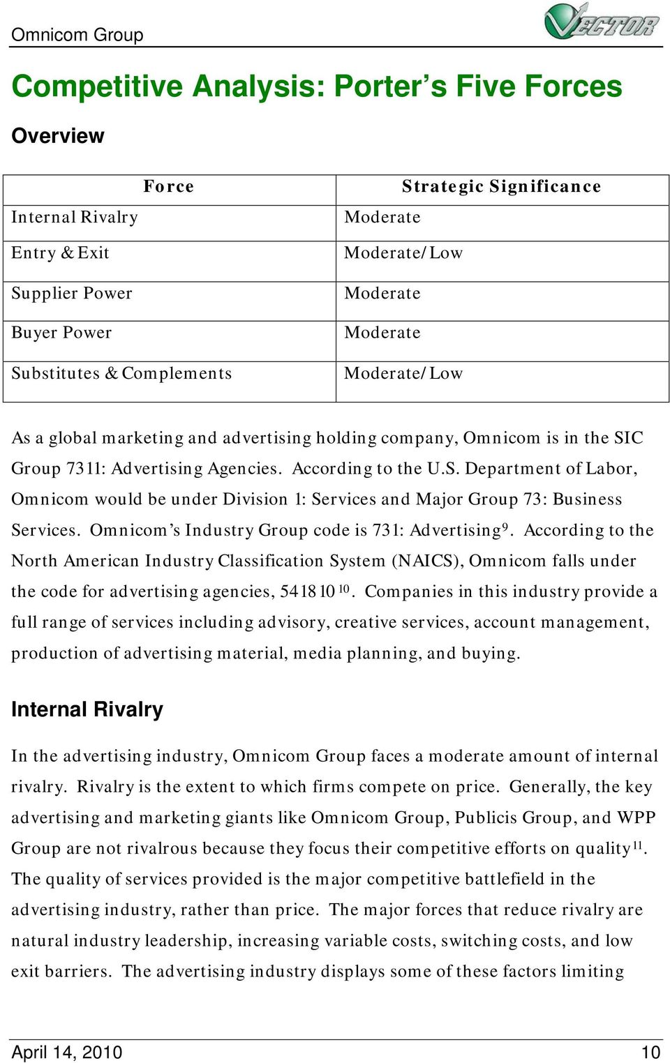 C Group 7311: Advertising Agencies. According to the U.S. Department of Labor, Omnicom would be under Division 1: Services and Major Group 73: Business Services.