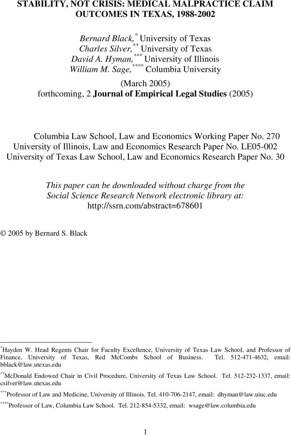 Sage, **** Columbia University (March 2005) forthcoming, 2 Journal of Empirical Legal Studies (2005) Columbia Law School, Law and Economics Working Paper No.