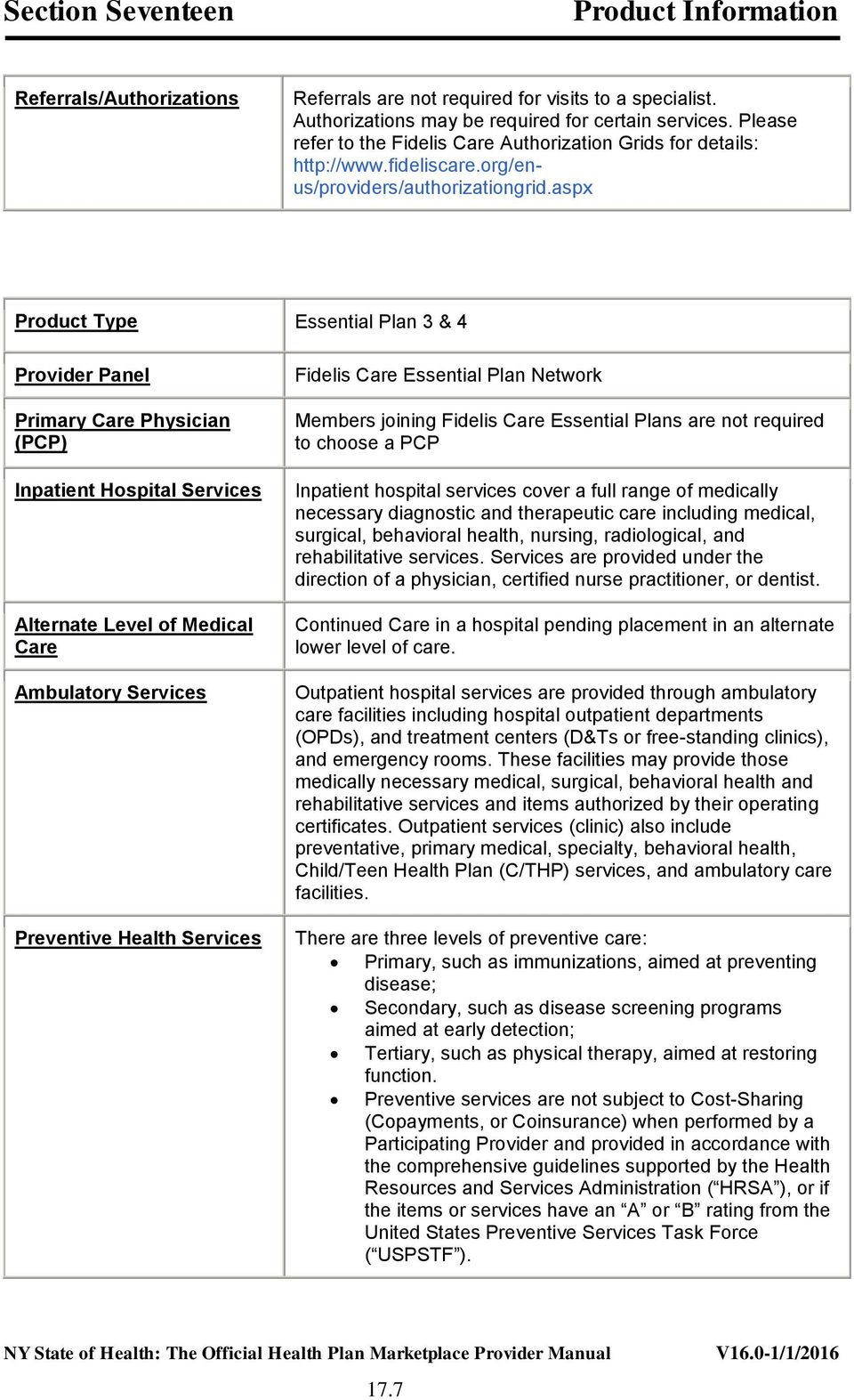 aspx Product Type Essential Plan 3 & 4 Provider Panel Primary Care Physician (PCP) Inpatient Hospital Services Alternate Level of Medical Care Ambulatory Services Fidelis Care Essential Plan Network
