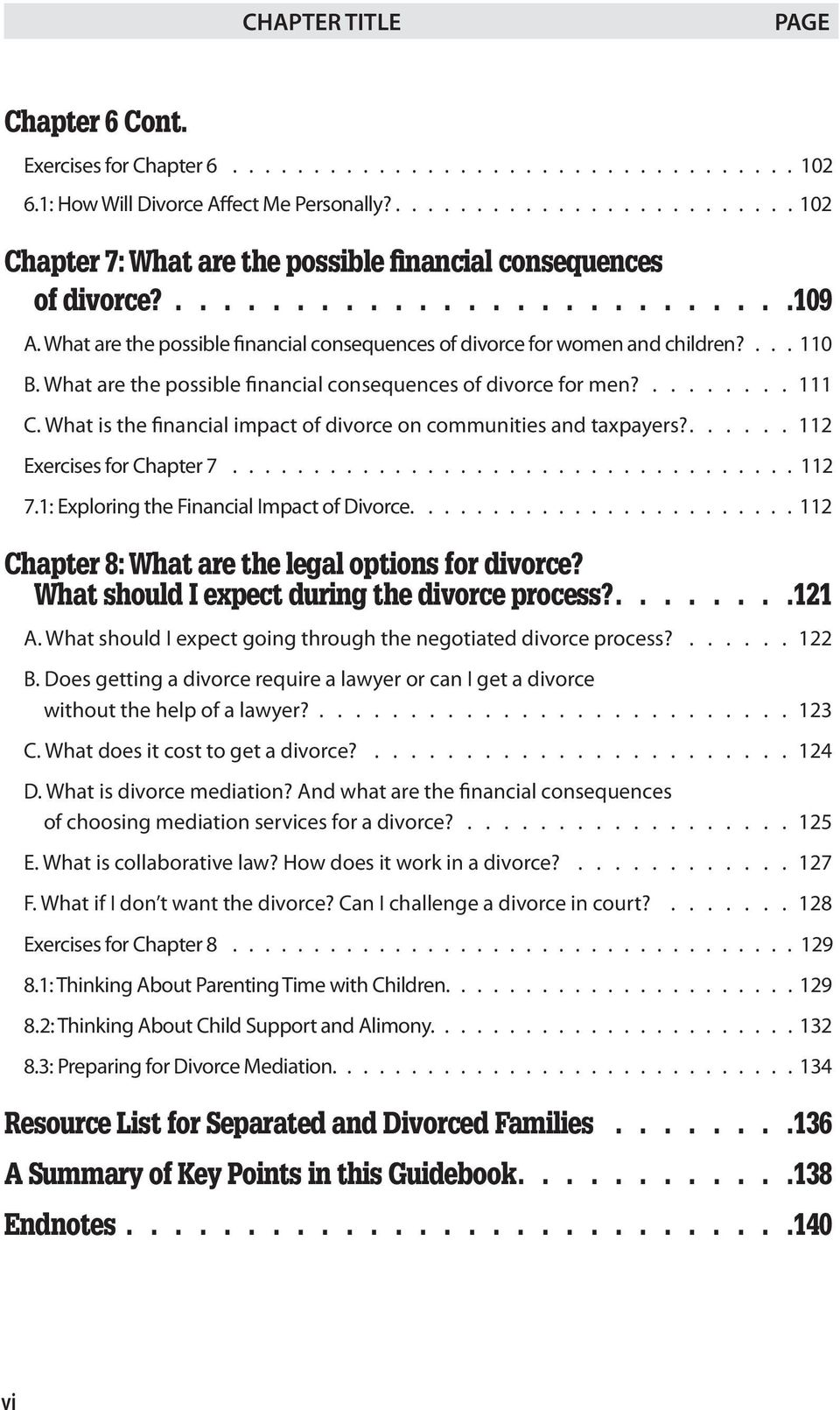 What are the possible financial consequences of divorce for women and children?.... 110 B. What are the possible financial consequences of divorce for men?......... 111 C.