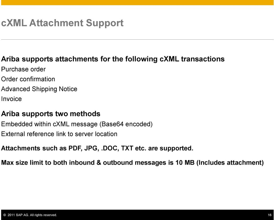encoded) External reference link to server location Attachments such as PDF, JPG,.DOC, TXT etc. are supported.