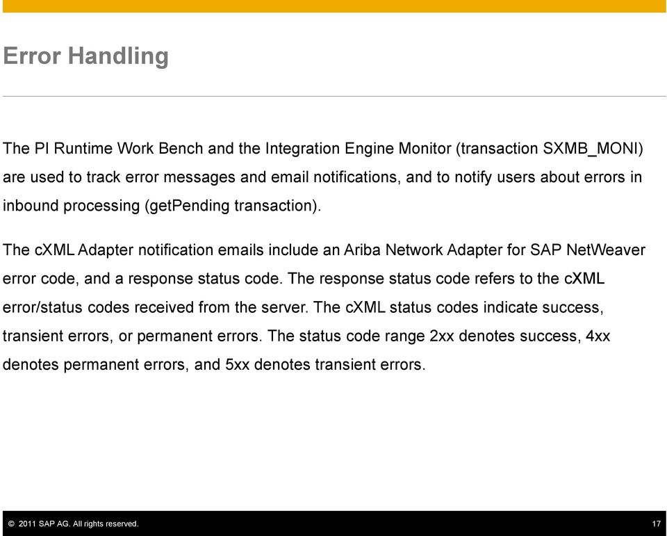 The cxml Adapter notification emails include an Ariba Network Adapter for SAP NetWeaver error code, and a response status code.