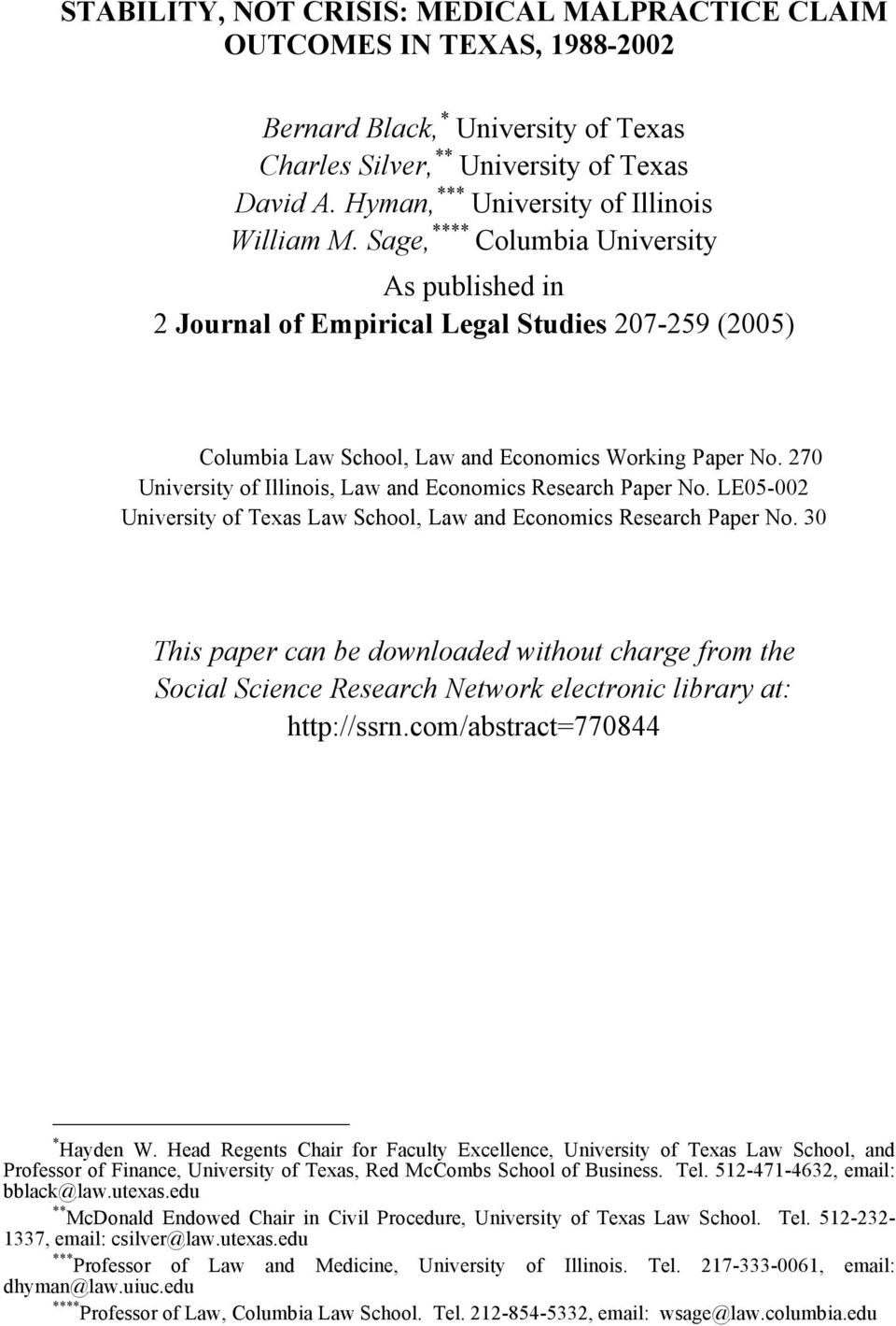 270 University of Illinois, Law and Economics Research Paper No. LE05-002 University of Texas Law School, Law and Economics Research Paper No.