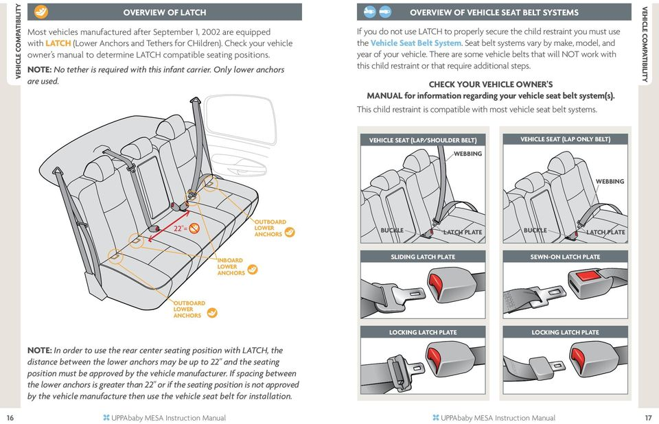 OVERVIEW of vehicle SEAT belt systems If you do not use LATCH to properly secure the child restraint you must use the Vehicle Seat Belt System.