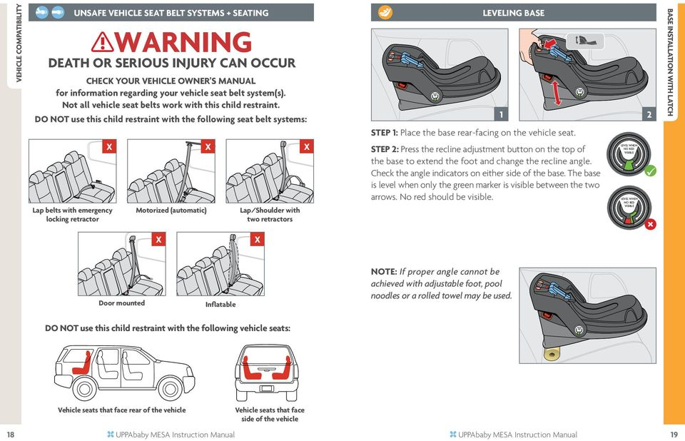 DO NOT use this child restraint with the following seat belt systems: X Lap belts with emergency locking retractor Motorized (automatic) X Lap/Shoulder with two retractors X LeveLing base 1 2 STEP 1: