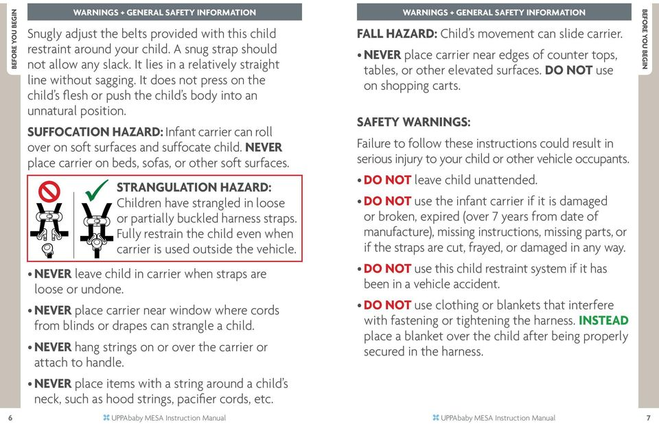 Suffocation Hazard: Infant carrier can roll over on soft surfaces and suffocate child. NEVER place carrier on beds, sofas, or other soft surfaces.