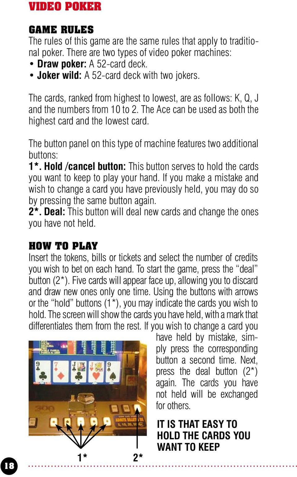 The Ace can be used as both the highest card and the lowest card. The button panel on this type of machine features two additional buttons: 1*.