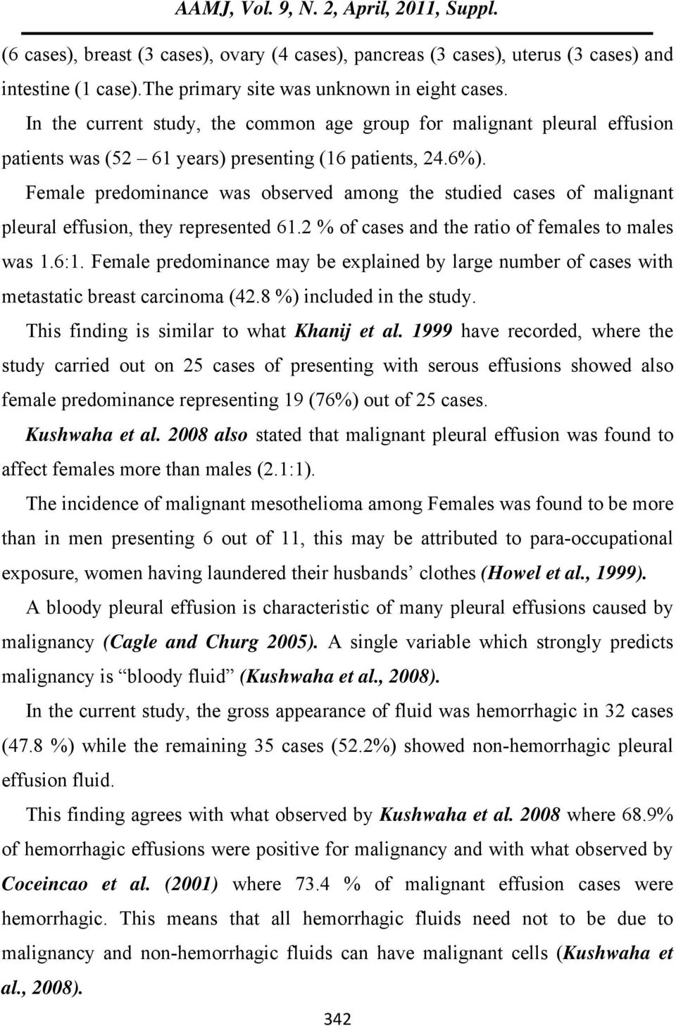 Female predominance was observed among the studied cases of malignant pleural effusion, they represented 61.2 % of cases and the ratio of females to males was 1.6:1.