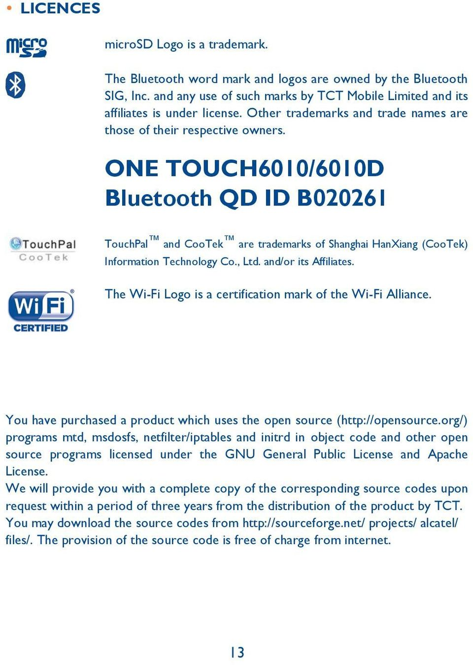 ONE TOUCH6010/6010D Bluetooth QD ID B020261 TouchPal and CooTek are trademarks of Shanghai HanXiang (CooTek) Information Technology Co., Ltd. and/or its Affiliates.