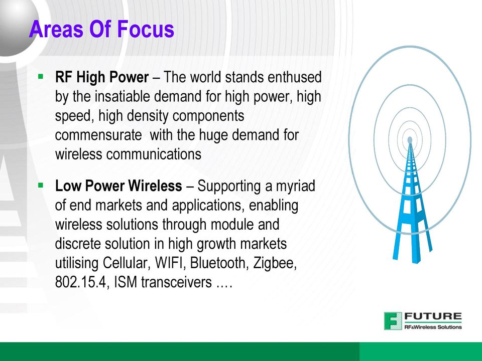 Wireless Supporting a myriad of end markets and applications, enabling wireless solutions through module