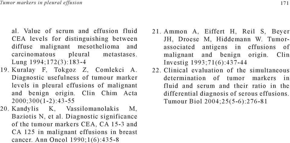 Kandylis K, Vassilomanolakis M, Baziotis N, et al. Diagnostic significance of the tumour markers CEA, CA 15-3 and CA 125 in malignant effusions in breast cancer. Ann Oncol 1990;1(6):435-8 21.