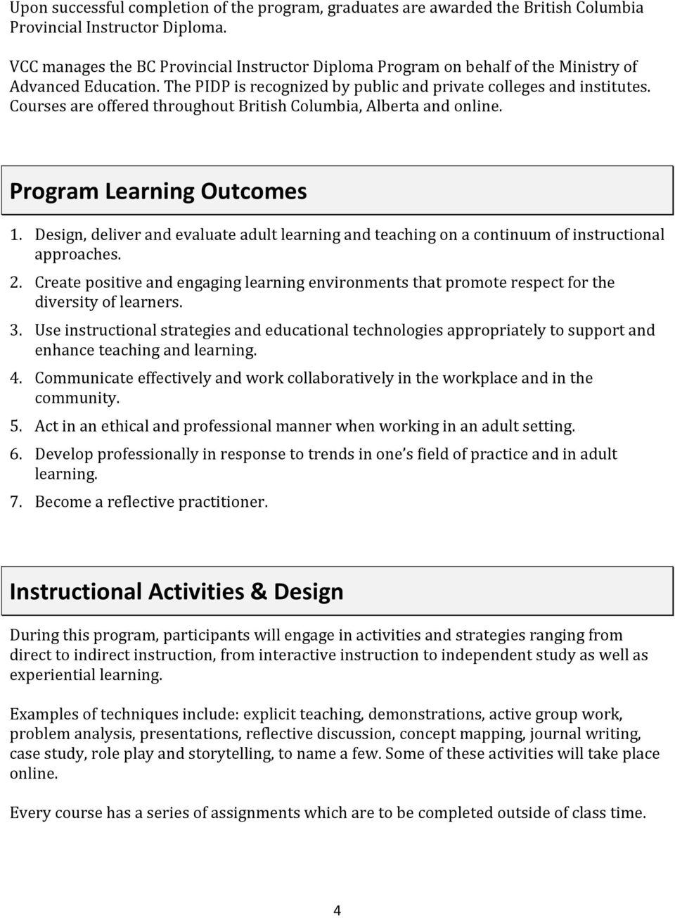 Courses are offered throughout British Columbia, Alberta and online. Program Learning Outcomes 1. Design, deliver and evaluate adult learning and teaching on a continuum of instructional approaches.