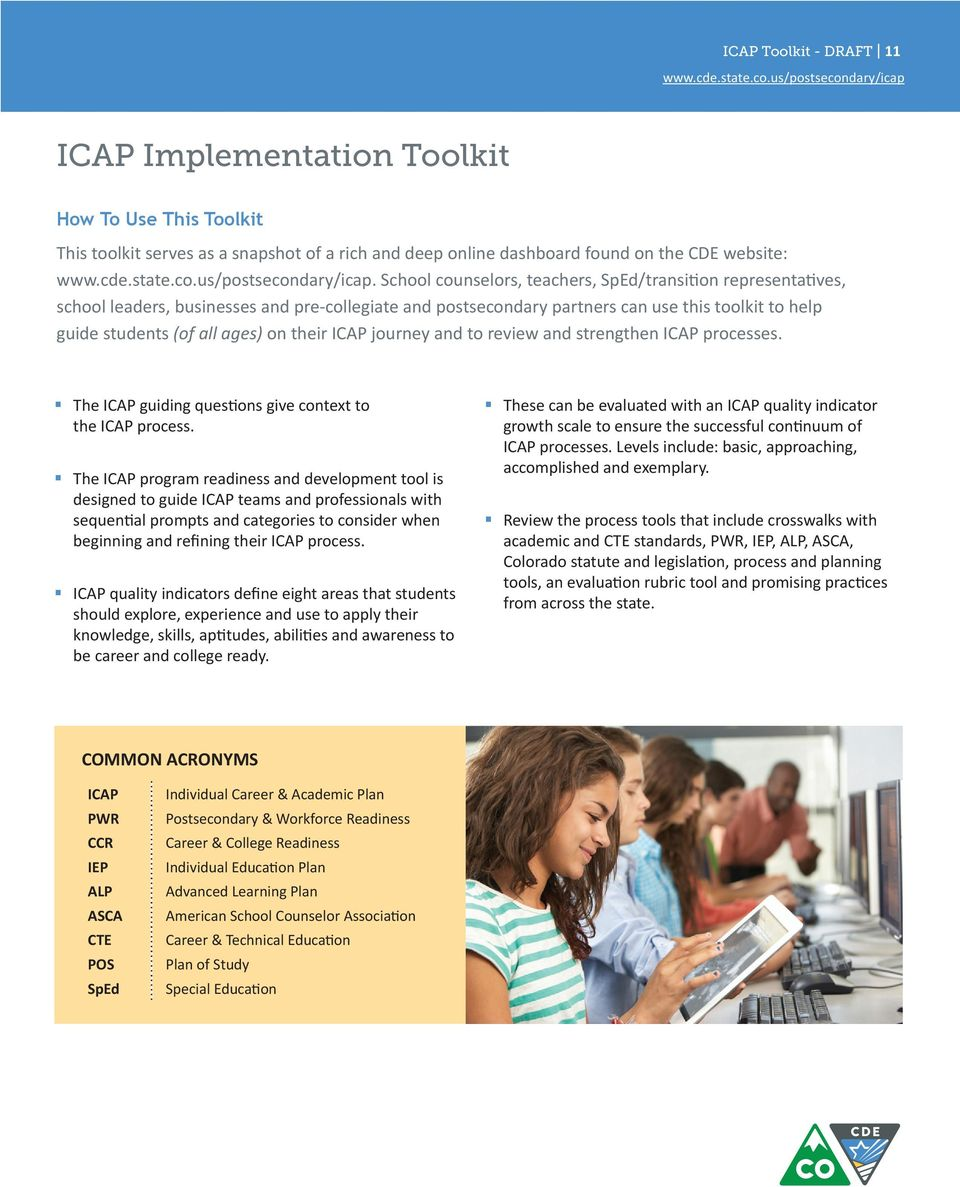 their ICAP journey and to review and strengthen ICAP processes. The ICAP guiding questions give context to the ICAP process.