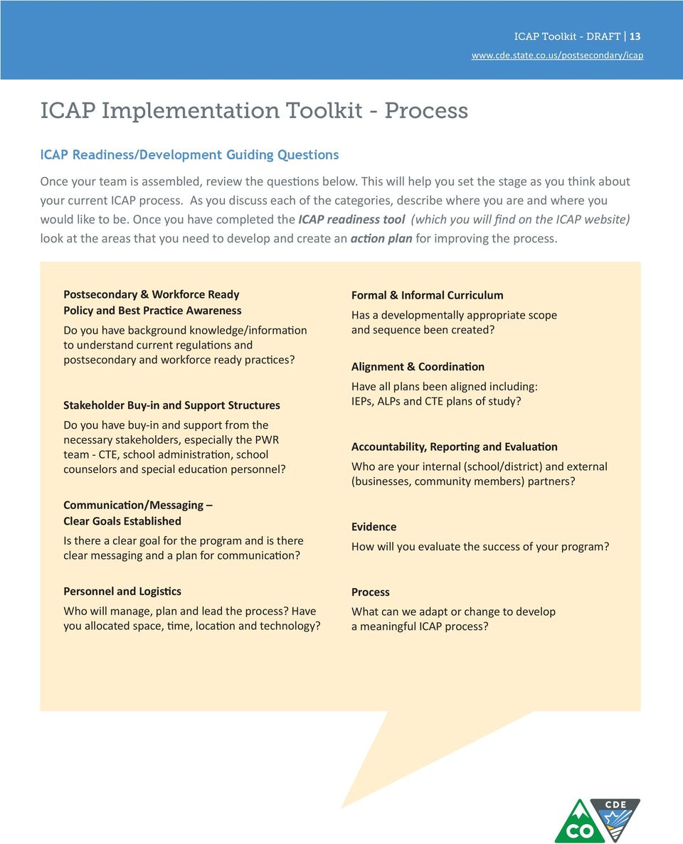 Once you have completed the ICAP readiness tool (which you will find on the ICAP website) look at the areas that you need to develop and create an action plan for improving the process.