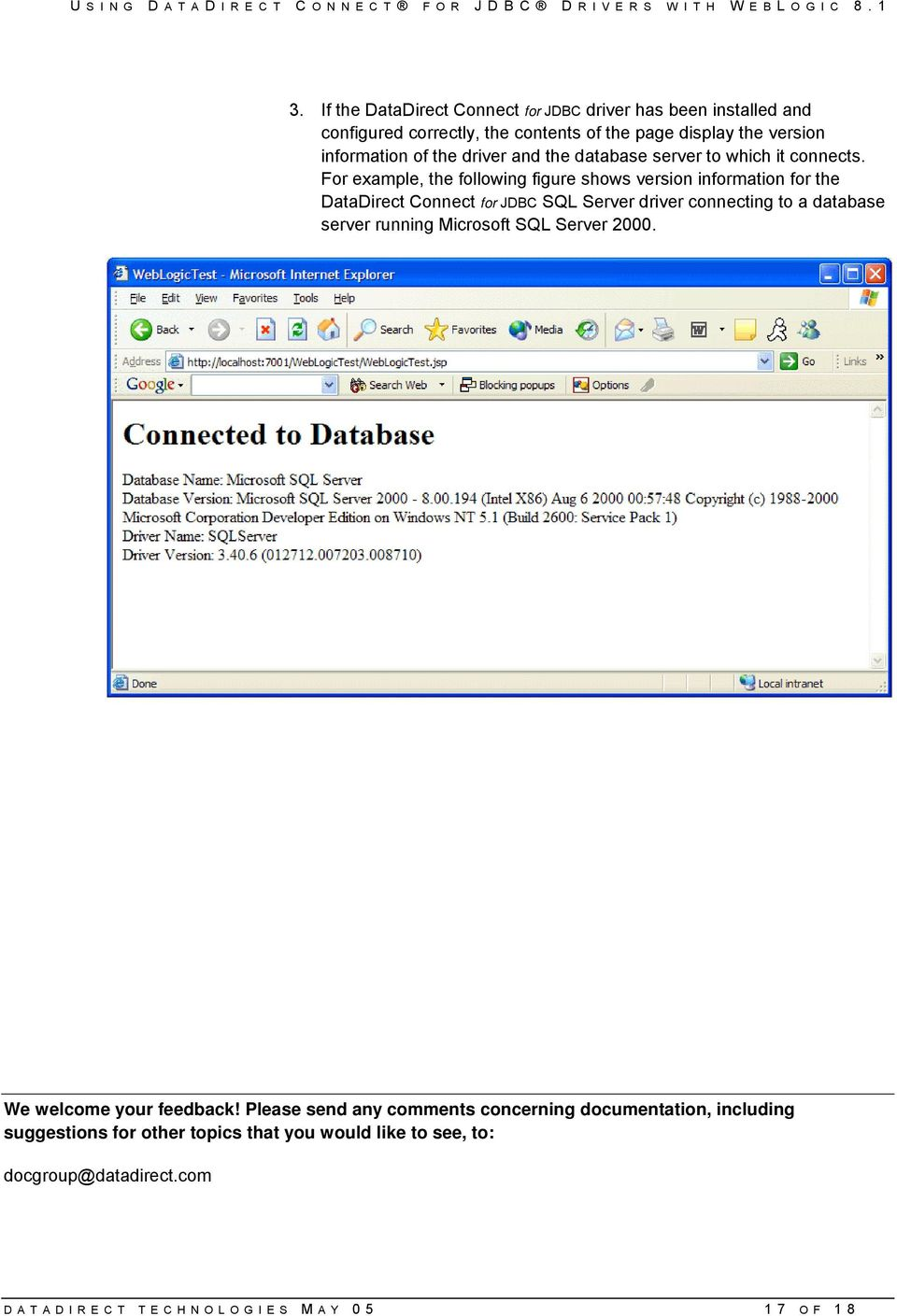 database server to which it connects.