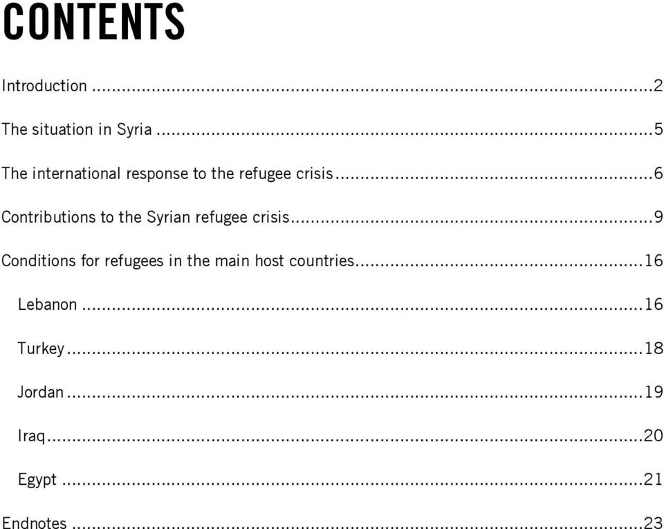 .. 6 Contributions to the Syrian refugee crisis.