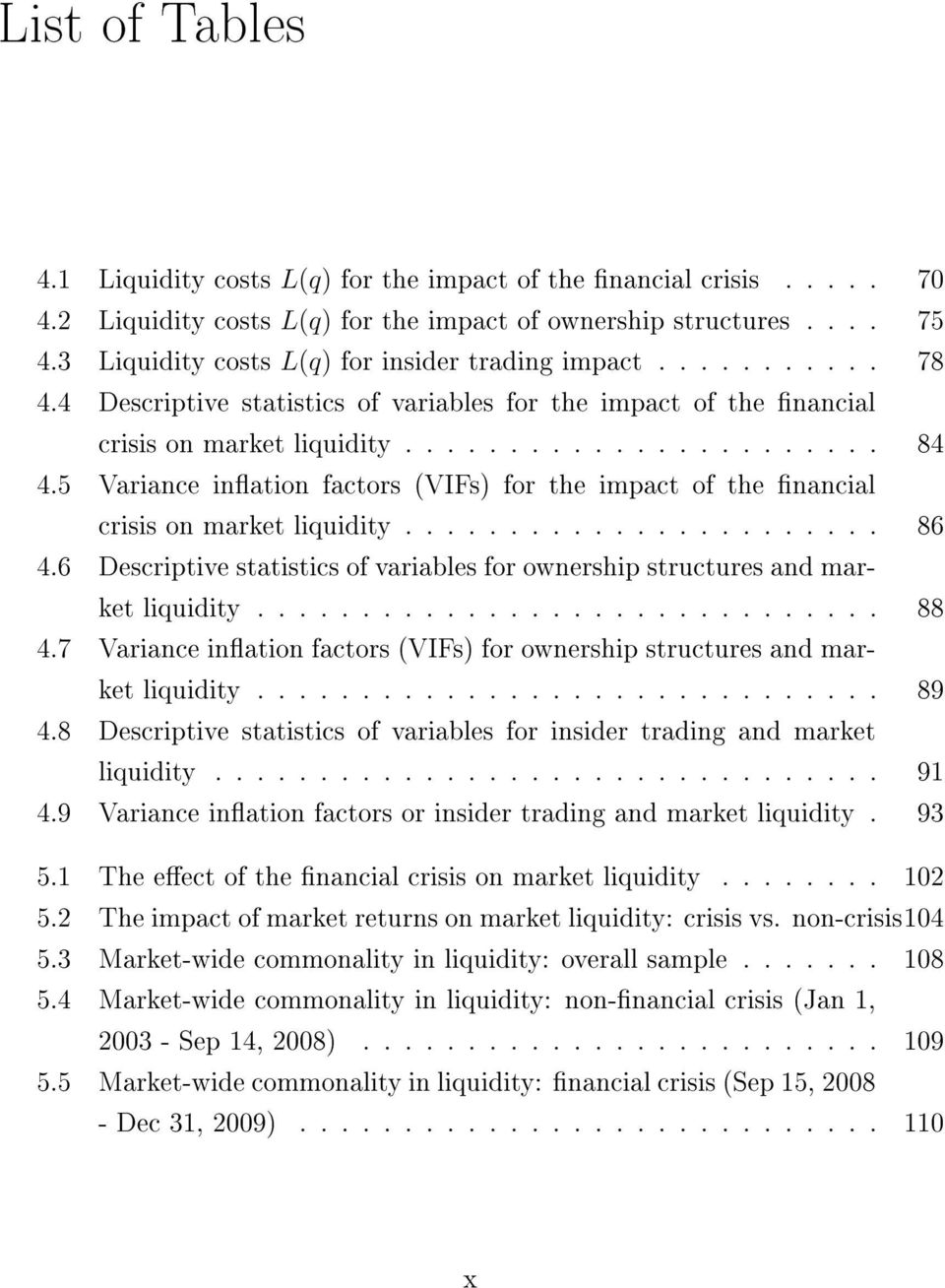 5 Variance ination factors (VIFs) for the impact of the nancial crisis on market liquidity....................... 86 4.
