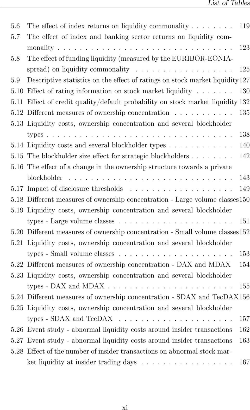 10 Eect of rating information on stock market liquidity....... 130 5.11 Eect of credit quality/default probability on stock market liquidity 132 5.12 Dierent measures of ownership concentration.