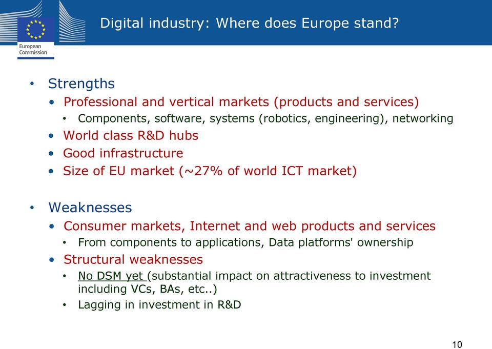 World class R&D hubs Good infrastructure Size of EU market (~27% of world ICT market) Weaknesses Consumer markets, Internet and web