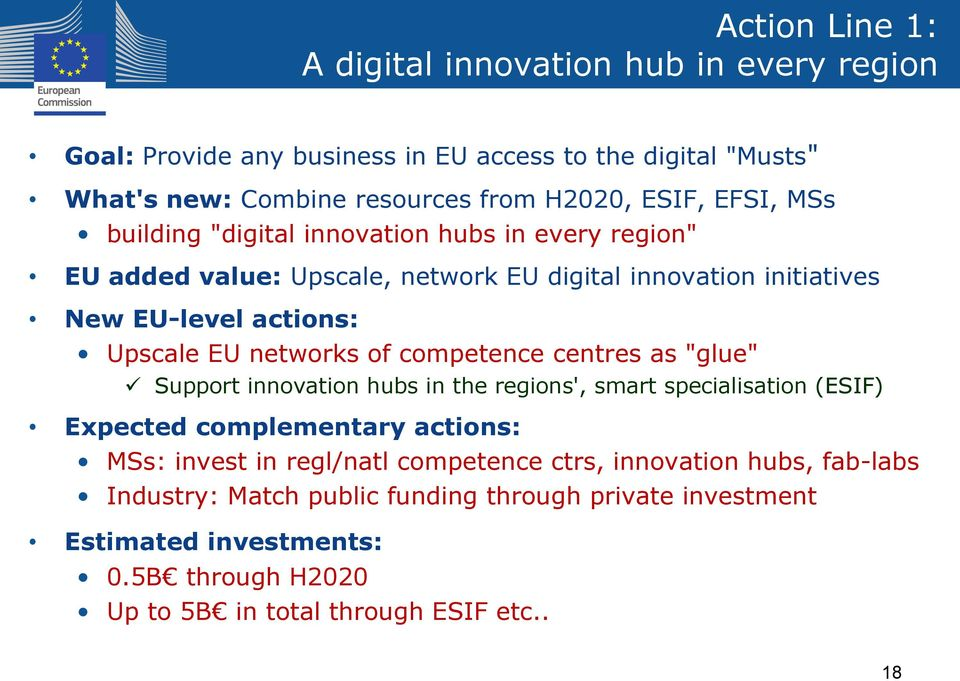 "of competence centres as ""glue"" Support innovation hubs in the regions', smart specialisation (ESIF) Expected complementary actions: MSs: invest in regl/natl competence"