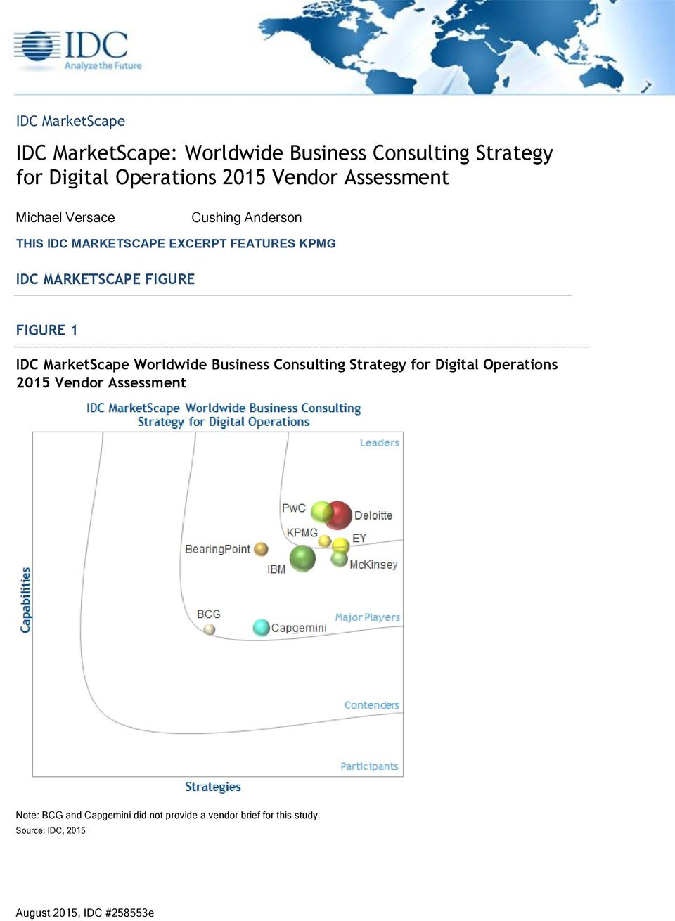 FIGURE 1 IDC MarketScape Worldwide Business Consulting Strategy for Digital Operations 2015 Vendor Assessment