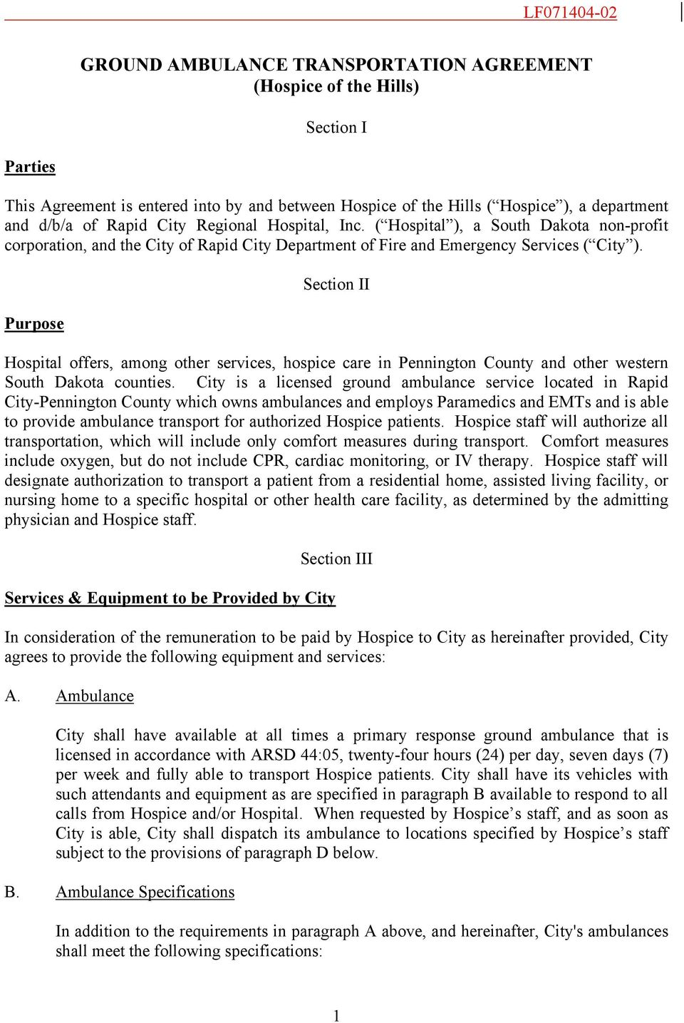Ground Ambulance Transportation Agreement Hospice Of The Hills Pdf