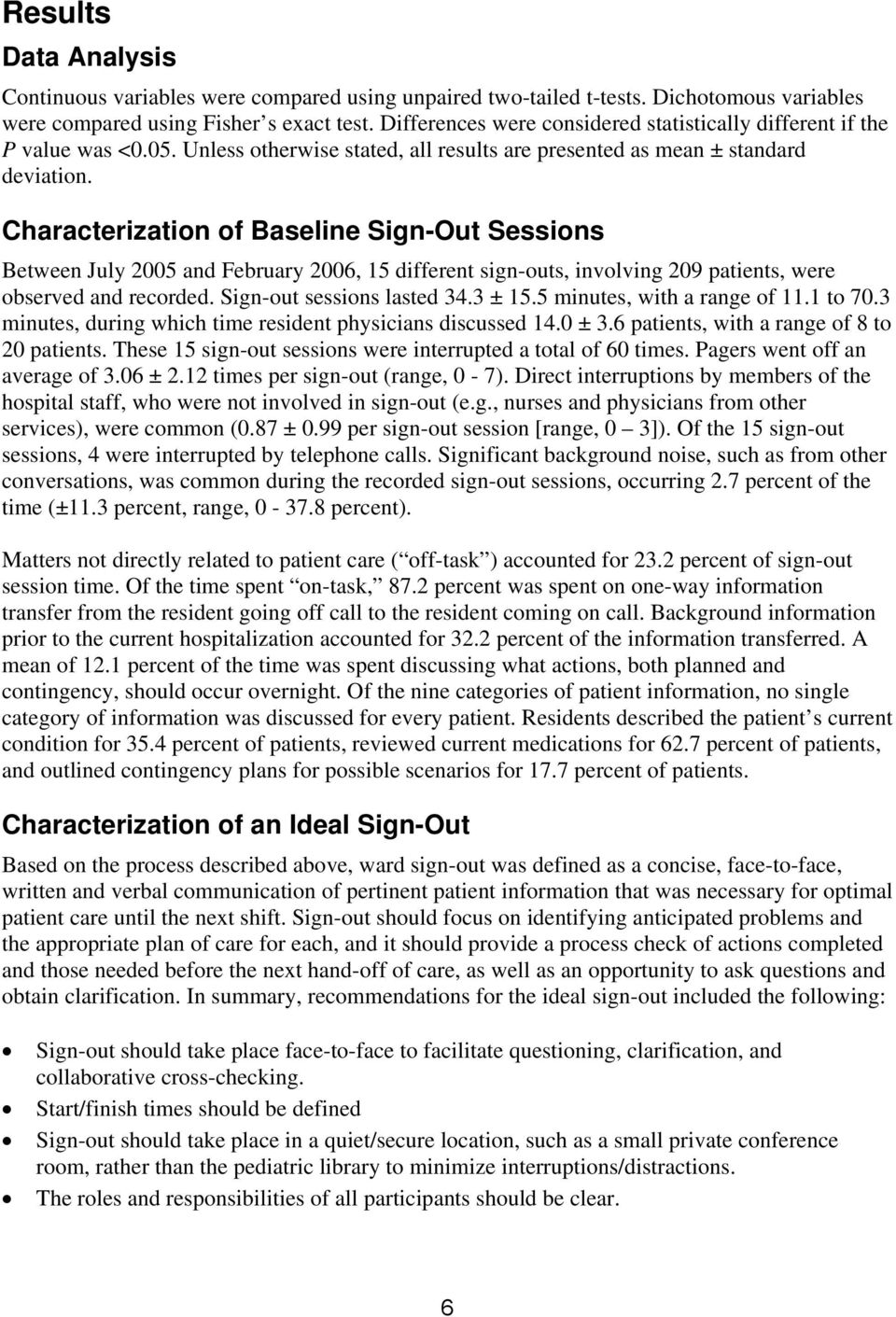 Characterization of Baseline Sign-Out Sessions Between July 2005 and February 2006, 15 different sign-outs, involving 209 patients, were observed and recorded. Sign-out sessions lasted 34.3 ± 15.