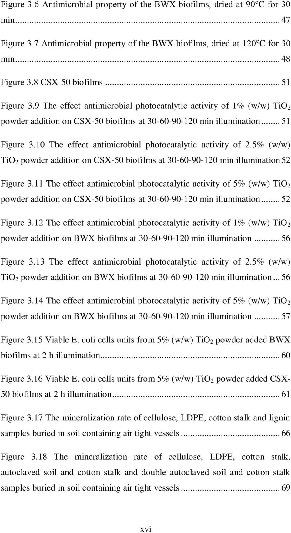 5% (w/w) TiO 2 powder addition on CSX-50 biofilms at 30-60-90-120 min illumination 52 Figure 3.