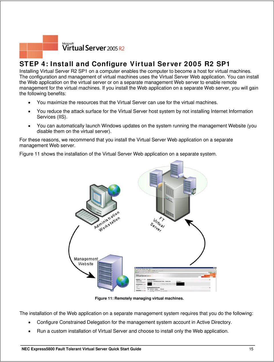 You can install the Web application on the virtual server or on a separate management Web server to enable remote management for the virtual machines.