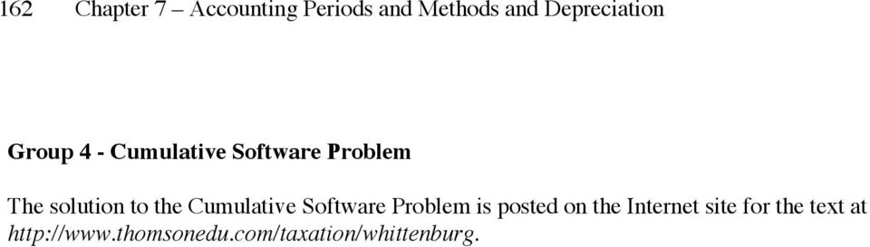 solution to the Cumulative Software Problem is posted on the