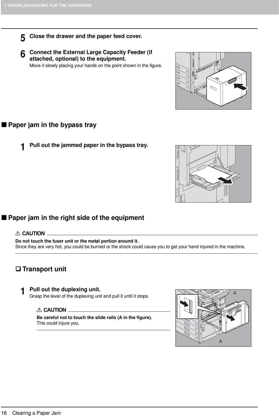 Paper jam in the right side of the equipment Do not touch the fuser unit or the metal portion around it.