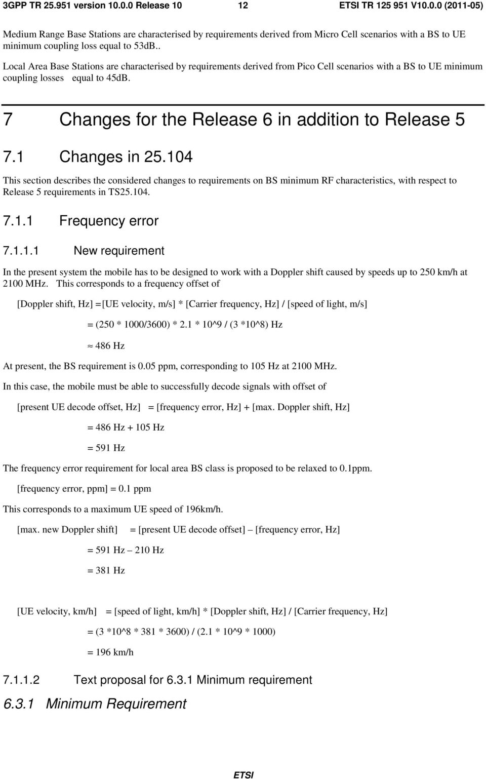 7 Changes for the Release 6 in addition to Release 5 7.1 Changes in 25.