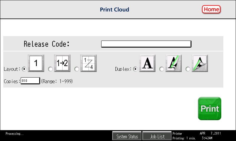 7. To retrieve the print out, walk up to MFP and open the Print Cloud