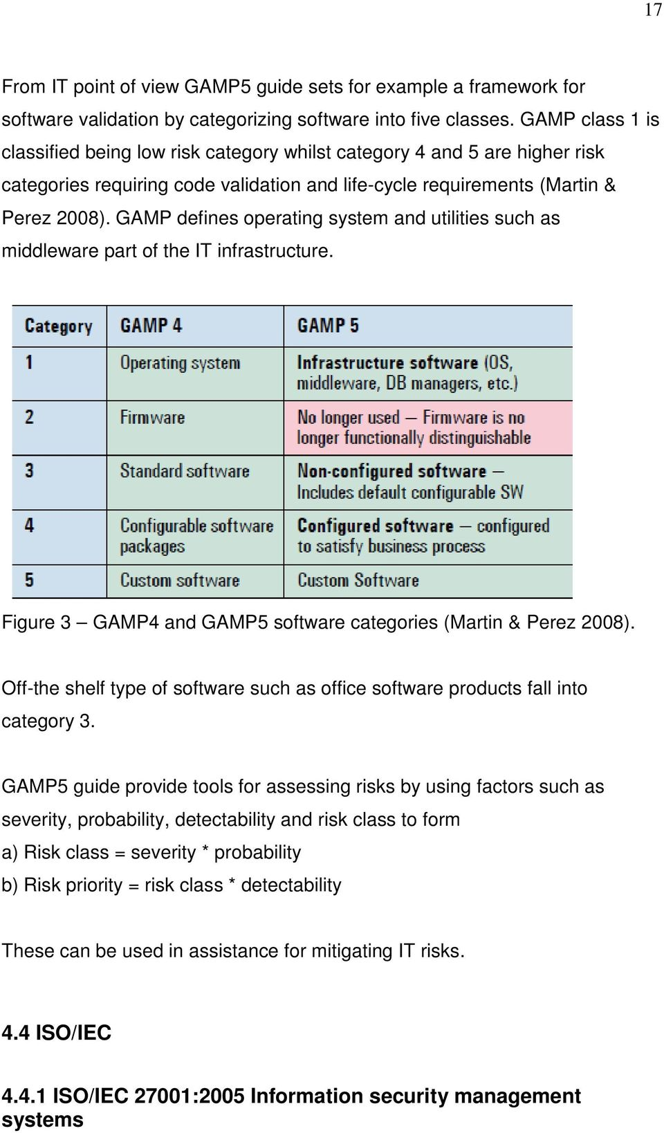 GAMP defines operating system and utilities such as middleware part of the IT infrastructure. Figure 3 GAMP4 and GAMP5 software categories (Martin & Perez 2008).