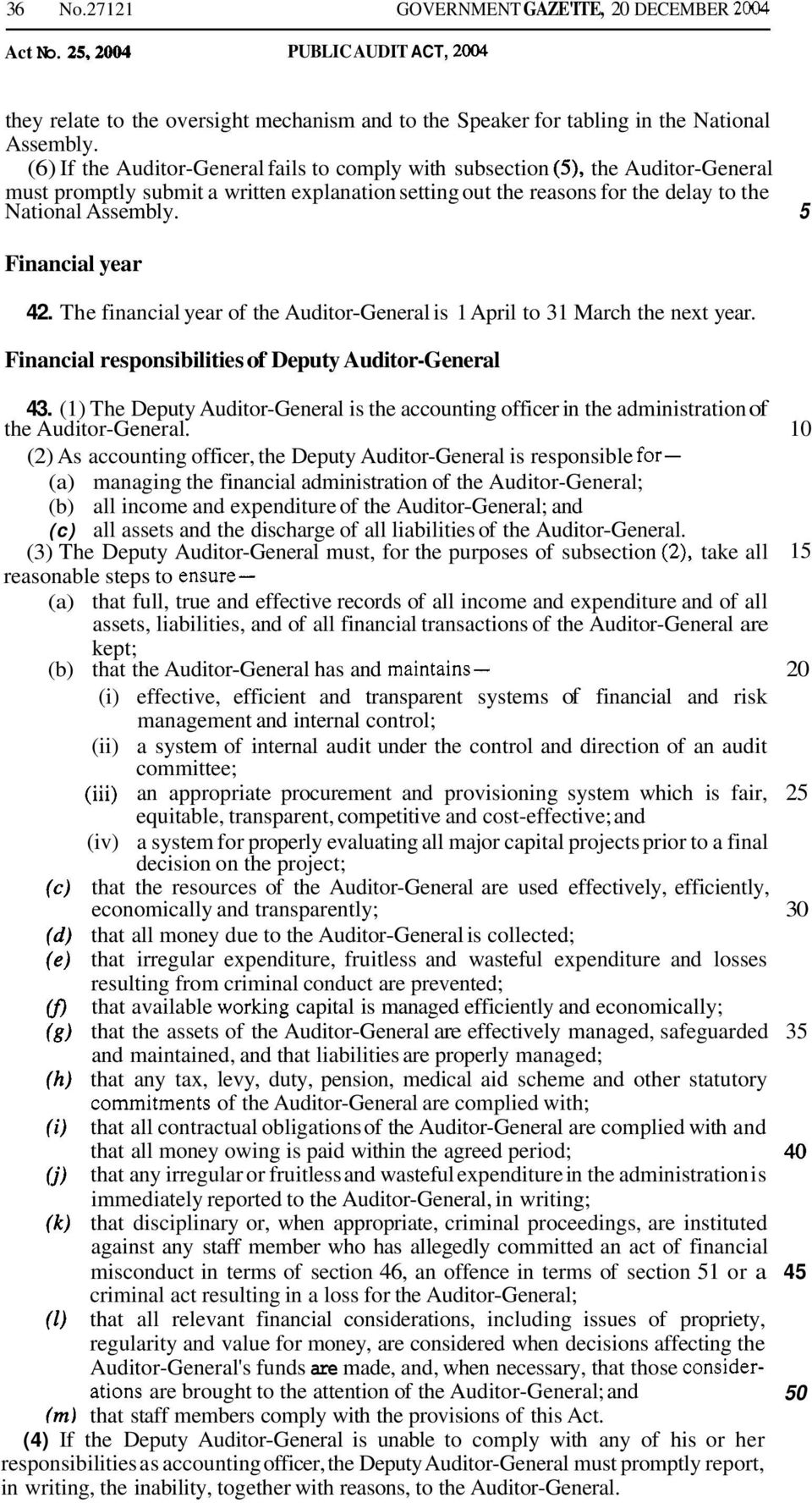 5 Financial year 42. The financial year of the Auditor-General is 1 April to 31 March the next year. Financial responsibilities of Deputy Auditor-General 43.