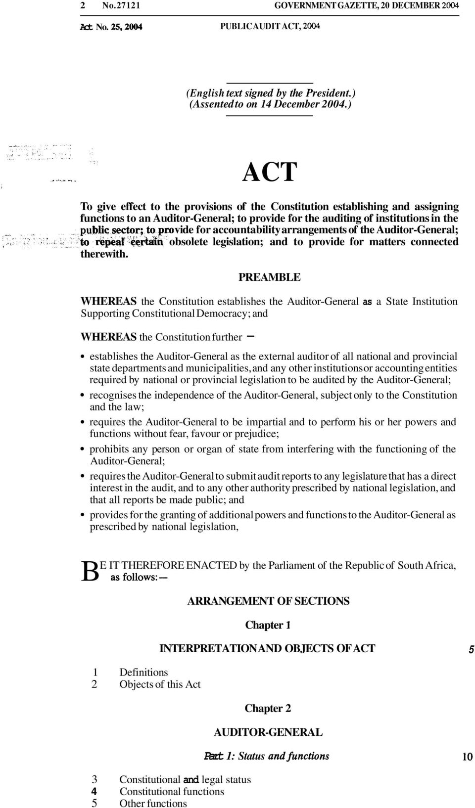 arrangements of the Auditor-General; to obsolete legislation; and to provide for matters connected therewith.