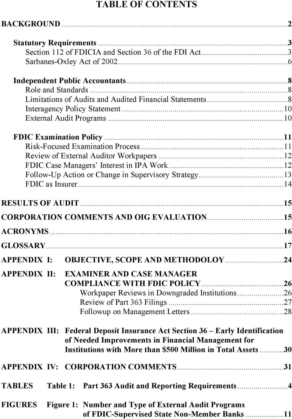 ..11 Review of External Auditor Workpapers...12 FDIC Case Managers Interest in IPA Work...12 Follow-Up Action or Change in Supervisory Strategy...13 FDIC as Insurer...14 RESULTS OF AUDIT.