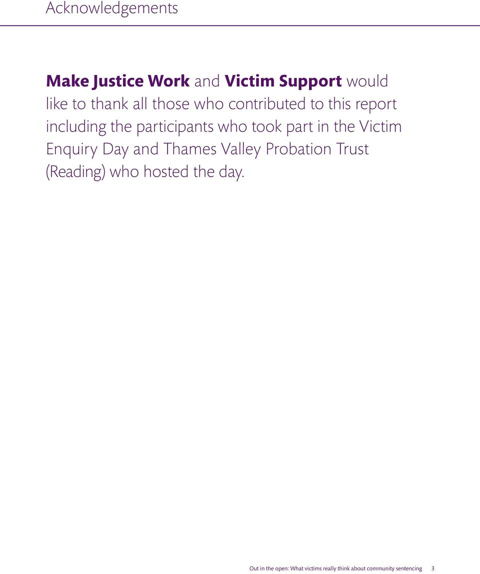 in the Victim Enquiry Day and Thames Valley Probation Trust (Reading) who