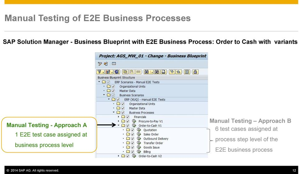 Best practice manual testing of e2e processes using sap solution test case assigned at business process level manual testing approach b 6 test cases malvernweather Choice Image