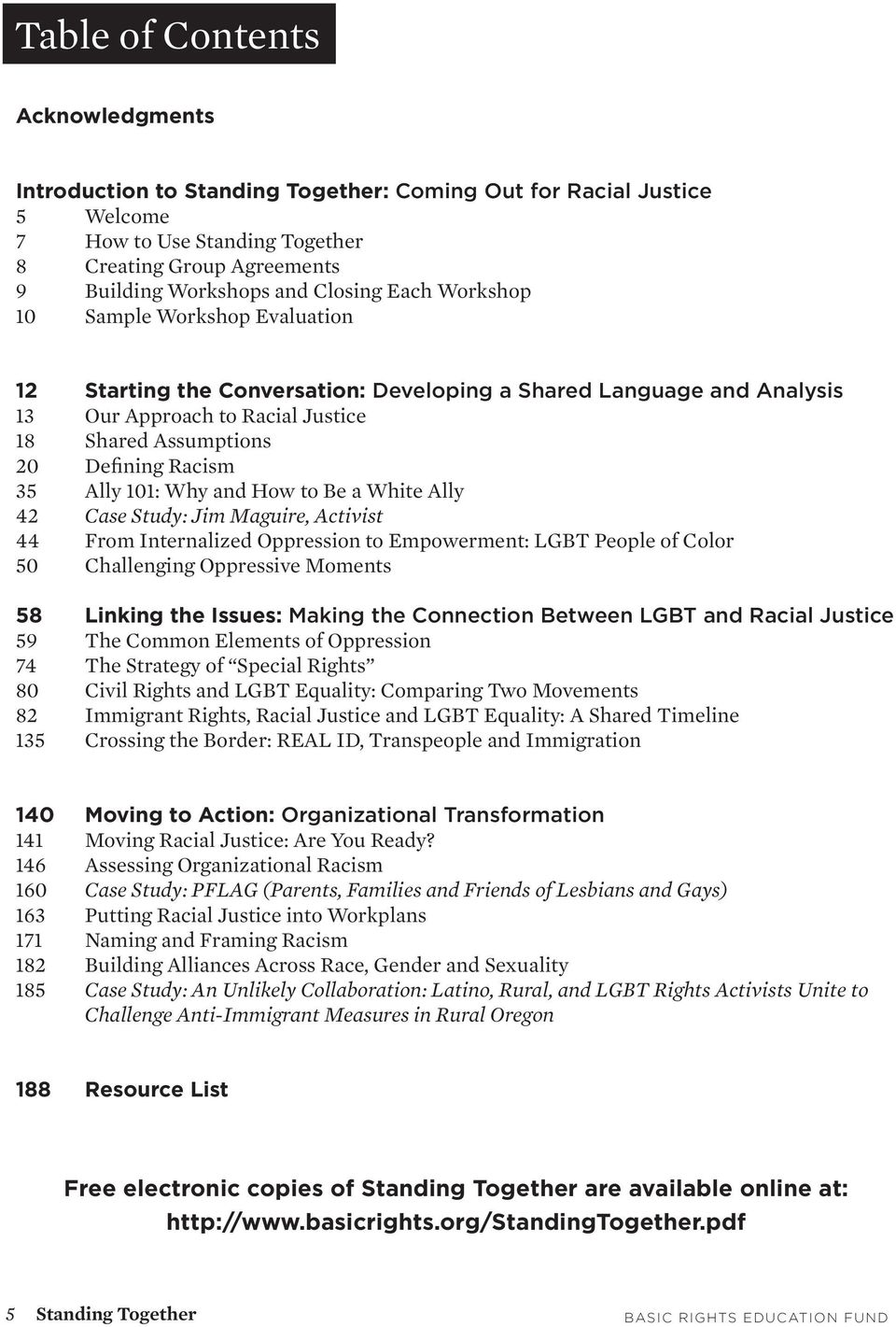 35 Ally 101: Why and How to Be a White Ally 42 Case Study: Jim Maguire, Activist 44 From Internalized Oppression to Empowerment: LGBT People of Color 50 Challenging Oppressive Moments 58 Linking the