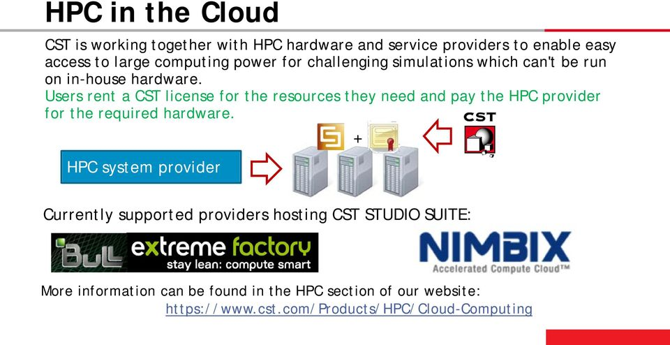 Users rent a CST license for the resources they need and pay the HPC provider for the required hardware.