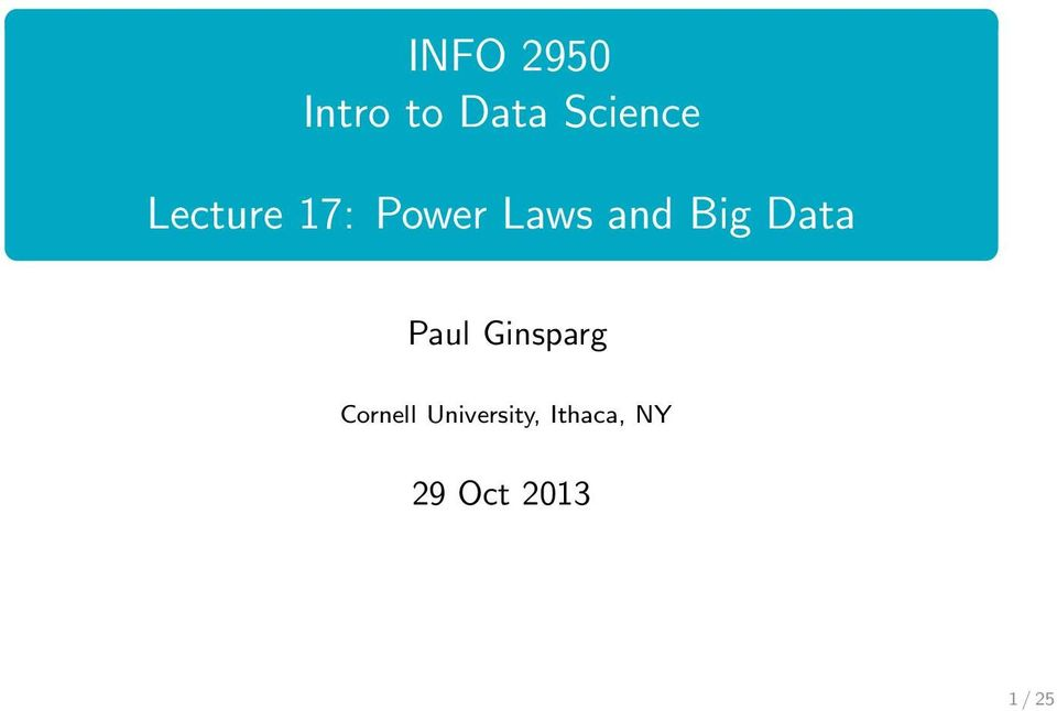 Data Paul Ginsparg Cornell