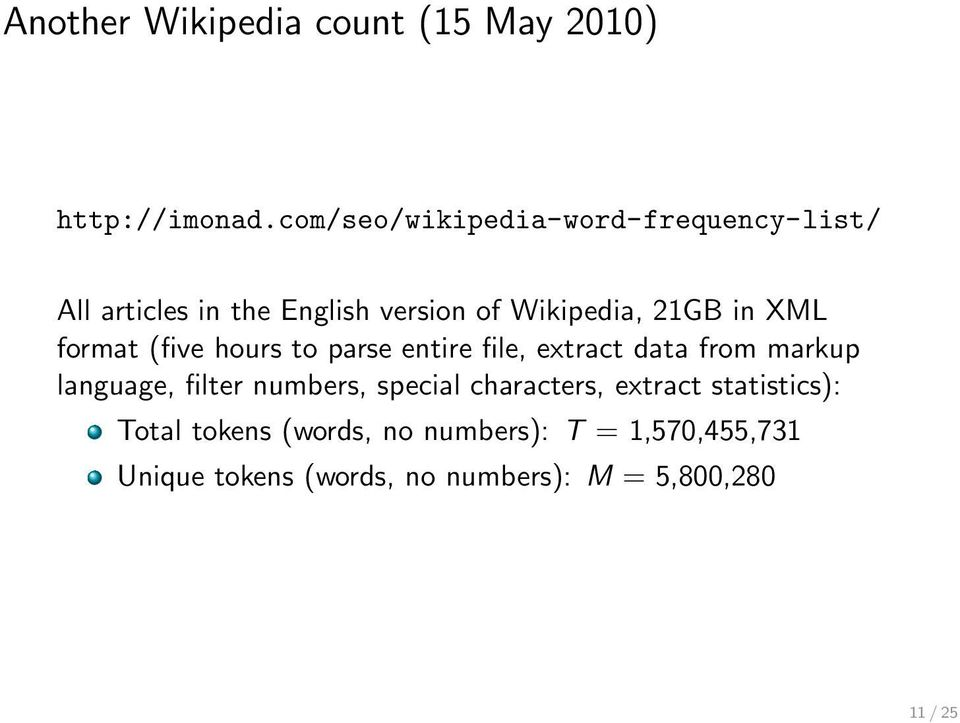 XML format (five hours to parse entire file, extract data from markup language, filter numbers,