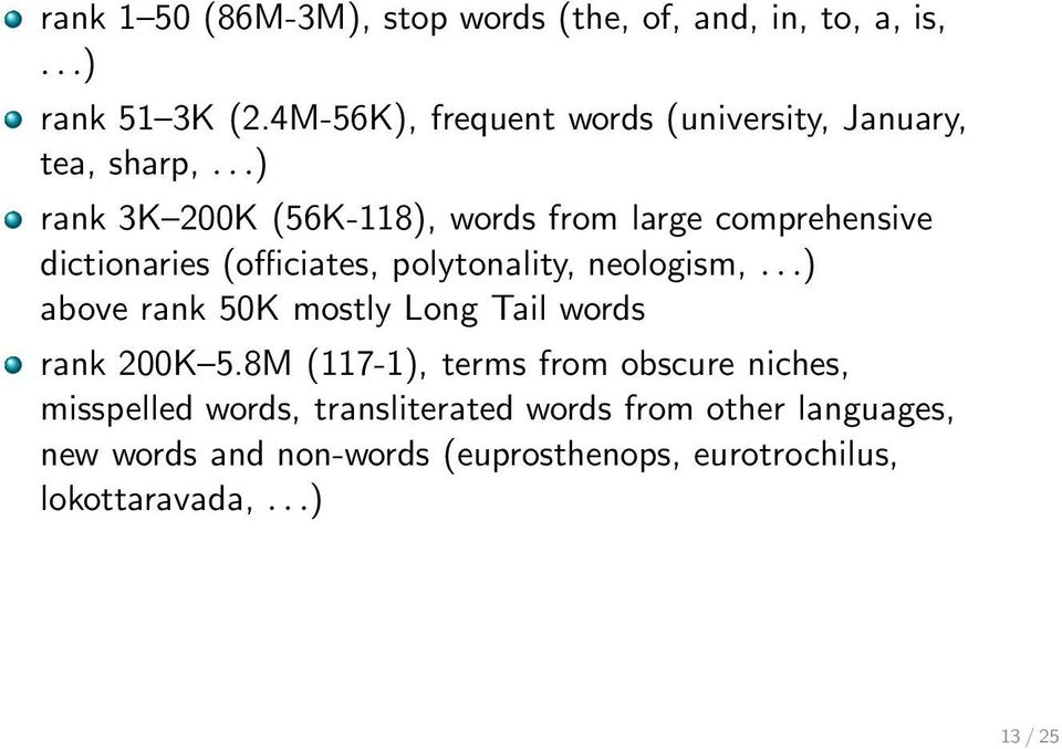 ..) rank 3K 200K (56K-118), words from large comprehensive dictionaries (officiates, polytonality, neologism,.