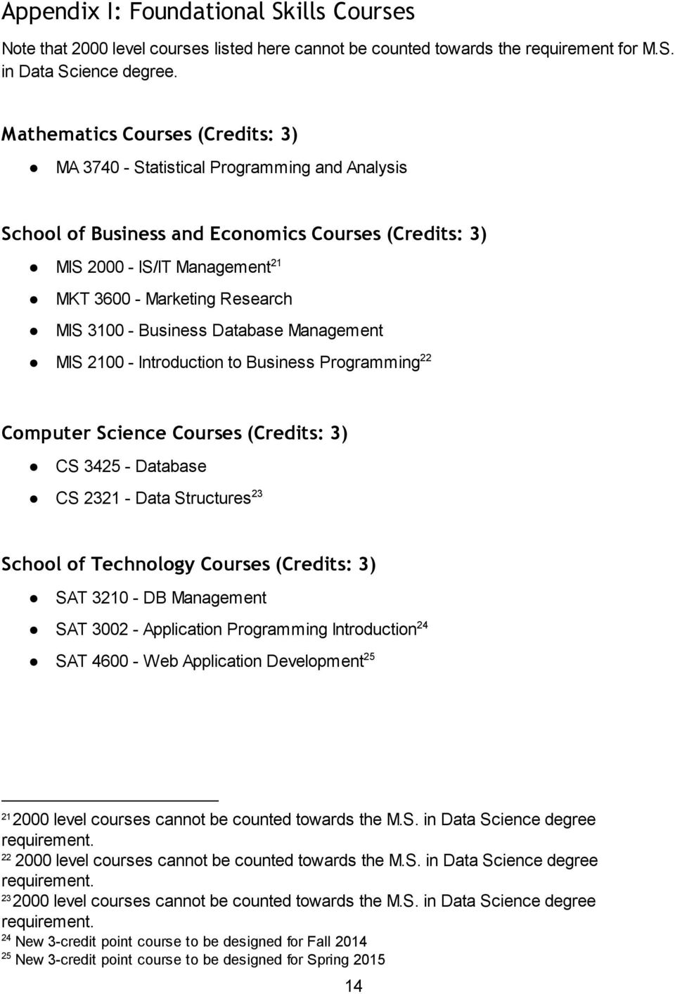 3100 - Business Database Management MIS 2100 - Introduction to Business Programming 22 Computer Science Courses (Credits: 3) CS 3425 - Database CS 2321 - Data Structures 23 School of Technology
