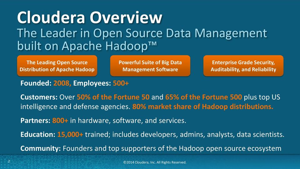 intelligence and defense agencies. 80% market share of Hadoop distributions. Partners: 800+ in hardware, software, and services.